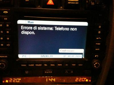 My navigation PCM2 for porsche cayenne says System error: phone not found