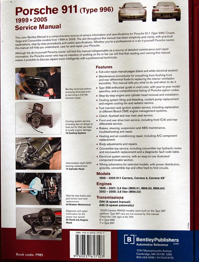 bentley porsche 911 carrera service manual 996 book. Black Bedroom Furniture Sets. Home Design Ideas