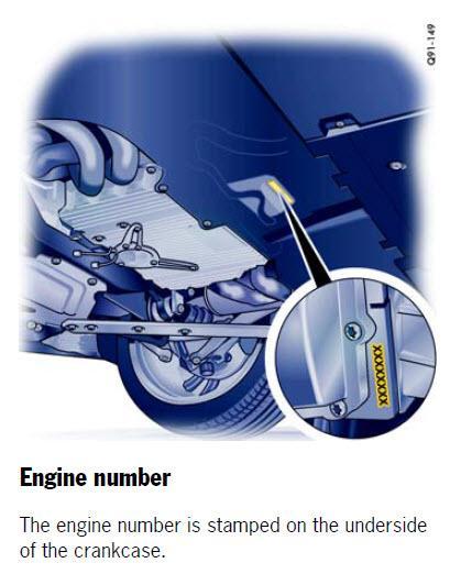 Engine Number location - 981/981C Series Part Number