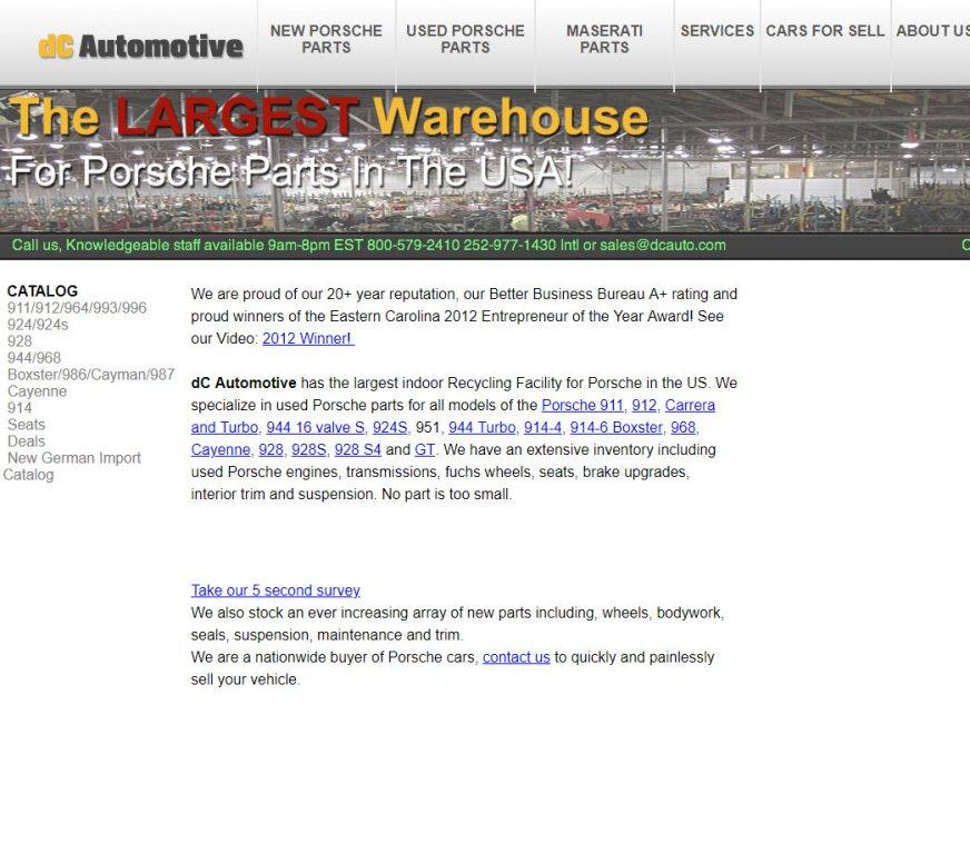 DC Automotive - Porsche Used Parts - Porsche Parts (used/salvage